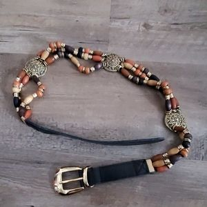 Limited beaded leather belt